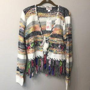 Kamana striped  fringe sweater size large. NWT